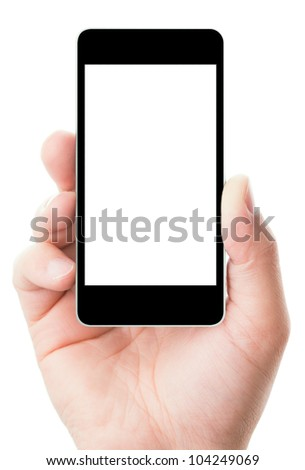 Man hand holding smart phone in vertical position, isolated on white background