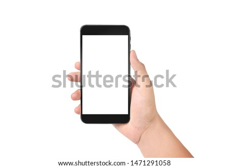 Man hand holding smartphone device and touching screen #1471291058