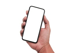 man hand holding smartphone with white screen isolated on white