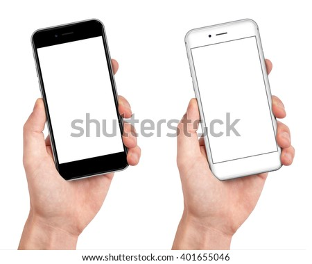 Man hand holding the black and white smartphone with blank screen in little angled position  - isolaten on white background