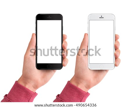 Man hand holding the black and white smartphone with blank screen - isolated on white background #490654336