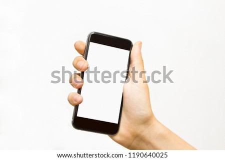 Man hand holding the black smartphone. #1190640025