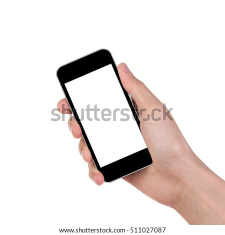 Man hand holding the black smartphone isolated on white background. Clipping path. #511027087