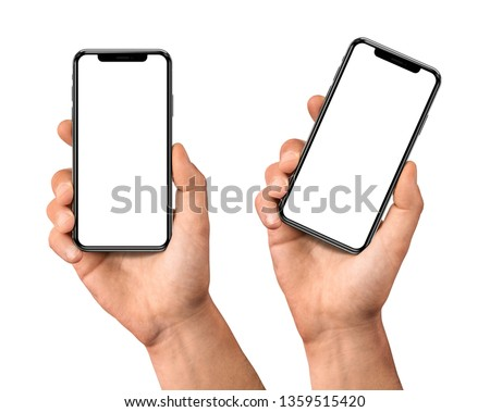 Man hand holding the black smartphone set with blank screen and modern frame less design - isolated on white background #1359515420