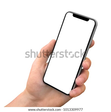 Man hand holding the black smartphone with blank screen and modern frame less design - isolated on white background angled position