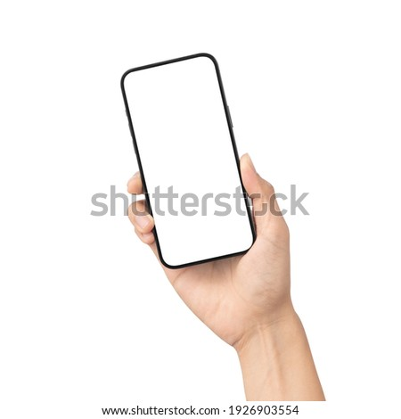 Man hand holding the black smartphone with blank screen isolated on white background with clipping path, Can use mock-up for your application or website design project.