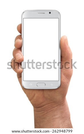 Man hand holding the smartphone, isolated on white background #262948799