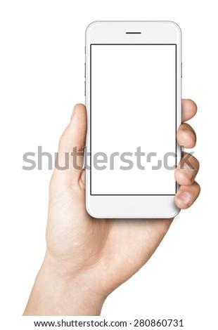 Shutterstock Man hand holding the white smartphone.