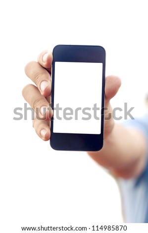 man hand is holding smartphone or phone to show what is on the phone. clipping path of the screen is in jpg.
