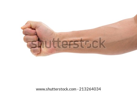 Man hand isolated on white background, clipping path #213264034