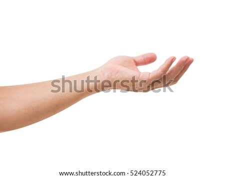 Man hand isolated on white background, clipping path #524052775