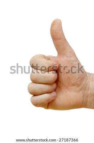 man hand isolated showing sign super by thumb up