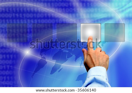 man hand making a choice among various buttons - business solutions concept