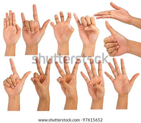 Man hand making sign. Isolated on white background