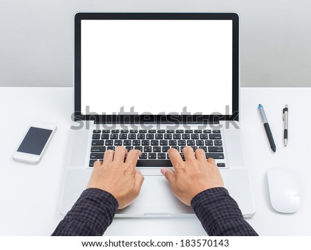 Man hand on laptop keyboard with blank screen monitor #183570143