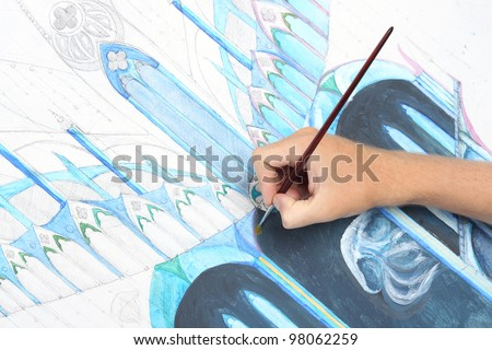 man hand painting abstract gothic style picture