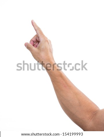 Man hand pointing or touching  isolated on white  stock photo