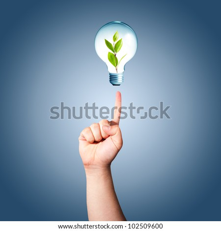 Man hand pointing to light bulb with green plant inside. Concept for idea for environmental conservation