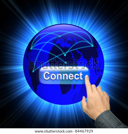 Man hand pressing connect button on abstract image of a social network and world map