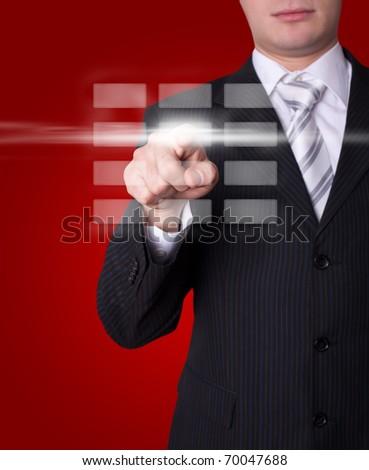 Man hand pressing digital buttons