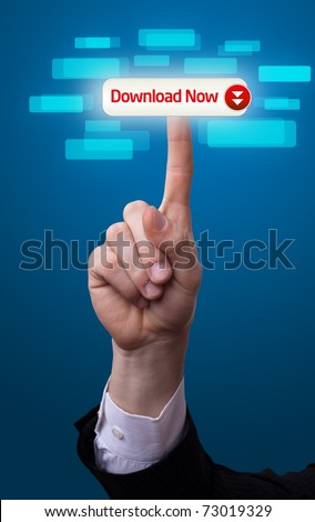 man hand pressing download now button