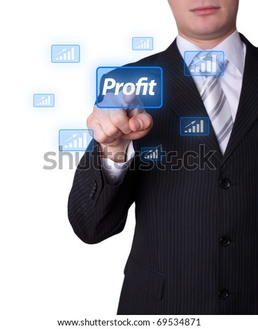 Man hand pressing profit button