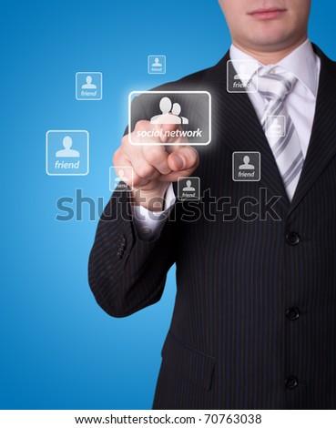 Man hand pressing social network button