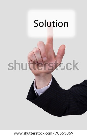 Man hand push on solution button