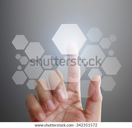 Man Hand pushing on touch screen interface