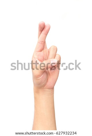 Man hand show finger cross and lie symbol on white background #627932234