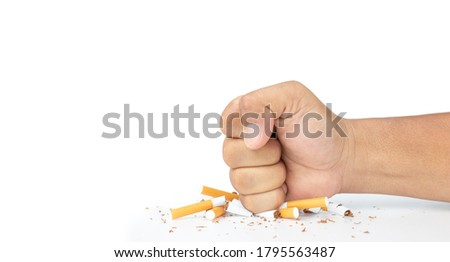 Man hand smash cigarette on white background, Man's fist crushing cigarettes, Stop smoking initiative concept of breaking cigarettes, World no tobacco day.