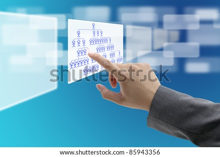 man hand touch on vacant position in organization chart for Job Seeking concept