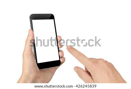 Man hand touch smart phone with isolated blank screen for mockup. #426245839