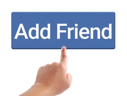 Man hand touching add friend button, Concept for video streaming website banners, content updates