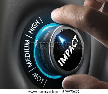 Man hand turning a knob in the highest position,  Concept image for illustration of high impact communication and advertising campaign.