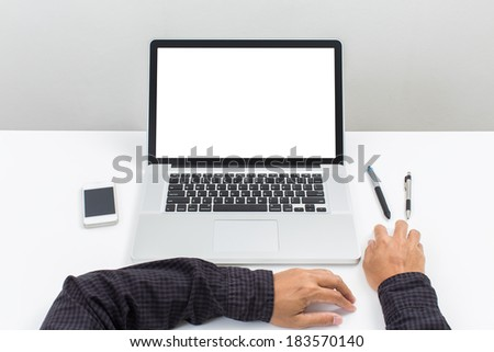 Shutterstock Man hand use Laptop computer with blank screen monitor