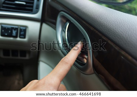 man hand use the signal switch. Car interior detail #466641698