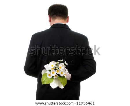 Man hand  white flowers isolated on white background