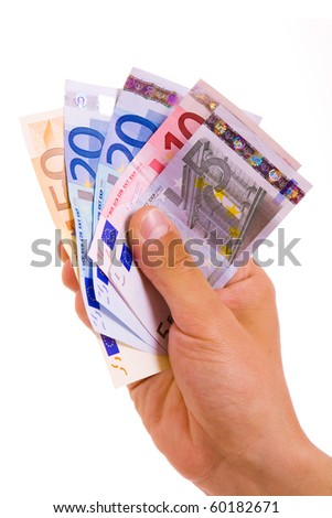 man hand whith euro bills, isolated on white