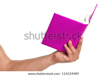 Man hand with a book isolated on white background