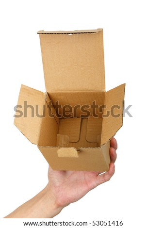 man hand with a box isolated  background