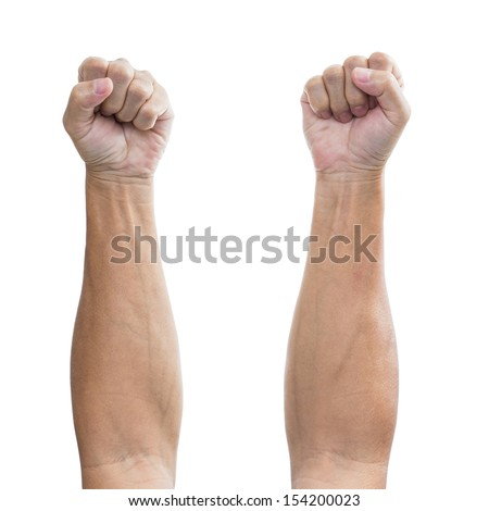 Man hand with a fist, isolated on a white background, clipping path