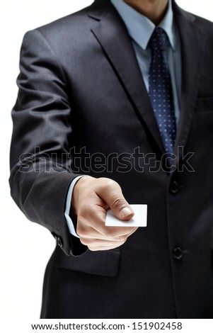 man hand with blank paper