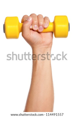 Man hand with dumbbells isolated on white background - stock photo