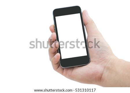 Man hand with mobile phone on white background #531310117