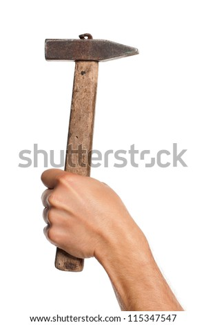Man hand with old hammer isolated on white background