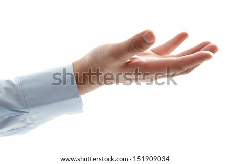 man hand with palm up in a white isolated background