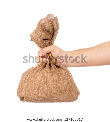 Man hand with small bag on white background