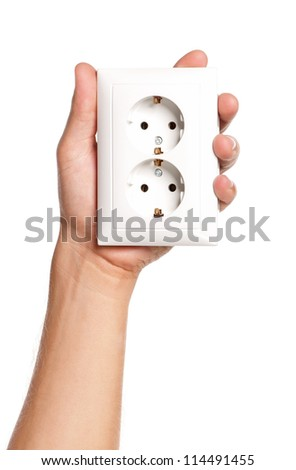 Man hand with socket isolated on white background