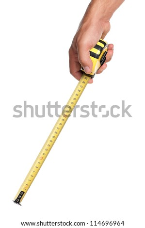 Man hand with tape measure isolated on white background